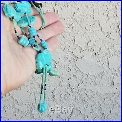 VINTAGE PAWN ZUNI STERLING SILVER 925 TURQUOISE FETISH HEISHI Antique NECKLACE