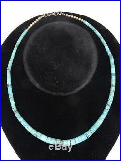 VINTAGE SANTO DOMINGO HEISHI GRADUATED TURQUOISE with SILVER BEAD 16 NECKLACE
