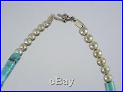 VINTAGE SANTO DOMINGO HEISHI GRADUATED TURQUOISE with SILVER BEAD NECKLACE 15