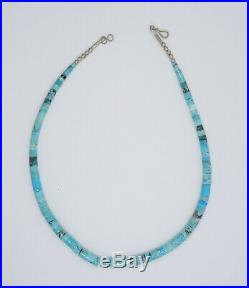 VINTAGE SANTO DOMINGO HEISHI GRADUATED TURQUOISE with SILVER BEAD NECKLACE 16