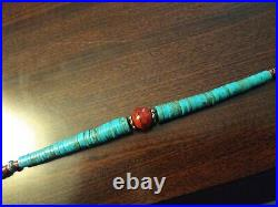 VINTAGE SANTO DOMINGO KEWA Graduated Turquoise Sterling Silver HEISHI Necklace