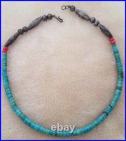 VINTAGE SANTO DOMINGO TURQUOISE HEISHI NECKLACE, With Hand made Sterling Beads