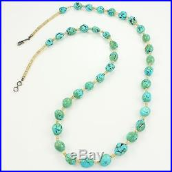 VINTAGE Southwestern TURQUOISE Nugget Shell HEISHI Bead Strand NECKLACE 27.75