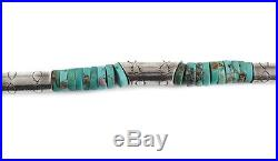 VIntage Navajo Sterling Silver Turquoise Graduated Heishi Bead Necklace 20