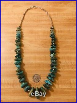 VTG 30 Sterling Silver Heavy Natural Turquoise Heishi Necklace 200 GRAMS 925