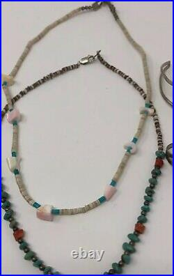 VTG Lot Sterling Silver Southwestern Native American Heishi Turquoise Jewelry