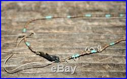 VTG OLD PAWN CARVED FETISH TURQUOISE Coral Stone Dolphins Heishi Bead NECKLACE
