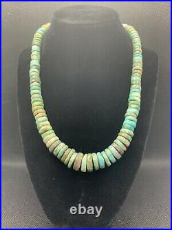 VTG ROYSTON TURQUOISE HEISHI BEAD NECKLACE With STERLING SILVER CLASP 75.9g