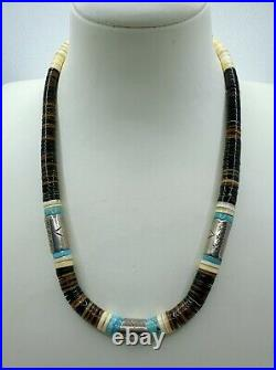 VTG Santo Domingo Sterling Silver Barrel Beads Turquoise Heishi Necklace 46g #by