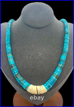 VTG Santo Domingo Sterling Silver Natural Turquoise Heishi Bead Jacla Necklace