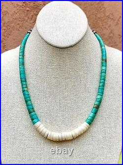 VTG Santo Domingo Sterling Silver Natural Turquoise Shell Heishi Bead Necklace