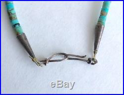 VTG Signed Native American Kingman Turquoise Heishi Beads Sterling Necklace 24