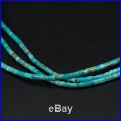VTG Sterling Silver NAVAJO 3 Strand Turquoise Heishi Bead 30 Necklace 28.5g