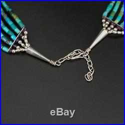 VTG Sterling Silver NAVAJO Turquoise & Lapis Heishi Bead Choker Necklace 37g