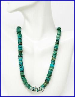 VTG Turquoise Heishi Bead Necklace 925 Sterling Silver Clasp Southwest Tribal
