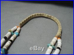 Very Long! Rare Leather Vintage Navajo Turquoise Heishi Shell Necklace Old