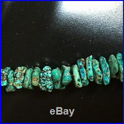 Very Old Large Turquoise Nugget & Heishi necklace 152 grams Old Pawn Navajo