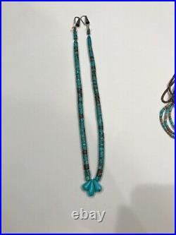 Very Old Very Fine Vintage Turquoise Heishi Necklace Spiderweb Signed Cones 19