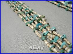 Very Unique Two Heishi Dark Light Vintage Navajo Turquoise Necklace- Authentic