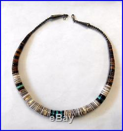 Vint Native Santo Domingo Turquoise Olive Shell Heishi Bead Necklace Sterling