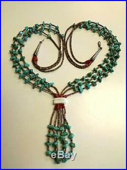 Vint Old Pawn Native American Multi Strand Shell Heishi Turquoise Jacla Necklace