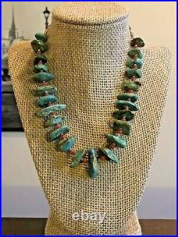 Vintage 17 Sterling Silver Natural Turquoise Heishi Necklace 925