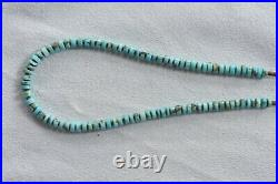 Vintage 18 Santo Domingo Hand Rolled Turquoise Heishi Graduated 5mm Necklace