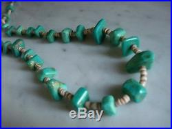Vintage 1940's Santo Domingo Turquoise Nugget Shell Heishi Necklace