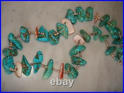 Vintage 1950's Navajo Carico Lake Turquoise Tab Spiny Oyster Heishi Necklace