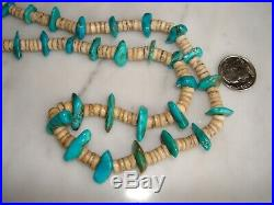 Vintage 1960's Santo Domingo Shell Heishi Turquoise Necklace 32 Inches