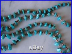 Vintage 1960's Santo Domingo Turquoise Nugget Shell Heishi 2 Strand Necklace