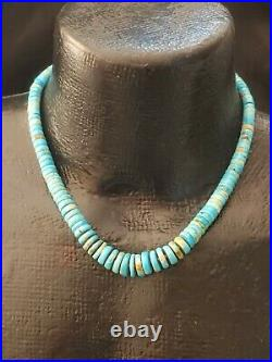 Vintage 1970's NATIVE AMERICAN Graduated TURQUOISE Bead HEISHI Necklace
