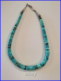 Vintage 1970's Sterling Silver & Kingman Turquoise Heishi Bead Choker Necklace