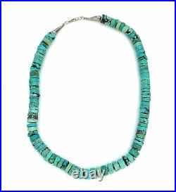Vintage 1970's Sterling Silver & Kingman Turquoise Heishi Bead Necklace
