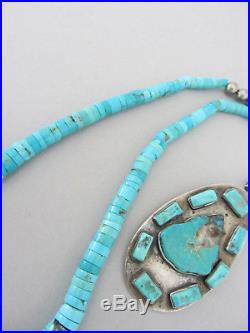 Vintage 1980's Bright Blue Turquoise Shell Heishi Navajo Pearl 17.25 Necklace