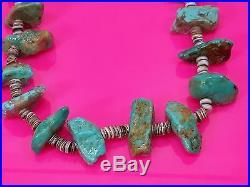 Vintage 24 Shell and Turquoise Nugget HEISHI Bead Necklace 98 grams Estate