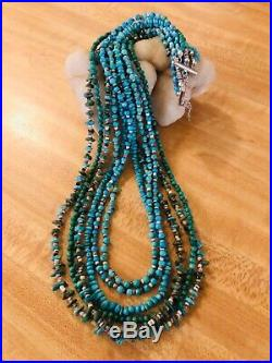 Vintage 27 Sterling Silver 6 Strand Turquoise Heishi Necklace 925
