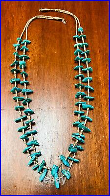 Vintage 2 Strand Native American Necklace Turquoise Nuggets And Shell Heishi