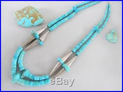 Vintage 2 Strand Turquoise Heishi Sterling Silver Cones Santo Domingo Necklace
