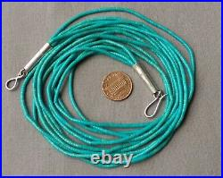 Vintage 5 Strand Fine Turquoise Heishi Necklace Silver Cone Ends 24 3/4