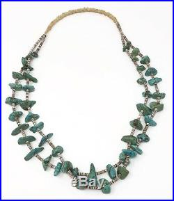 Vintage 60's Santo Domingo Necklace Turquoise Nugget Shell Heishi 2 Strand 28