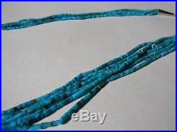 Vintage 6 STRAND Fine Turquoise Beads Heishi Necklace Sterling Silver