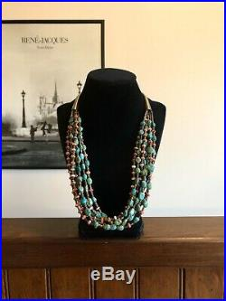 Vintage 7 Strand Sterling Silver Turquoise & Spiny Oyster Heishi Necklace 925