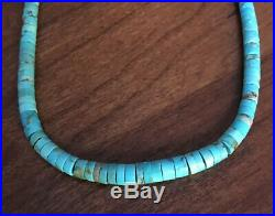 Vintage American Indian Navajo Old Pawn Silver Heishi Beaded Turquoise Necklace