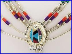 Vintage American Indian necklace liquid silver beads with mutli stone Heishi beads