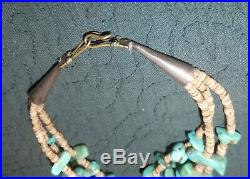 Vintage American Southwest Blue-Green Turquoise Nugget Heishi, 3-Strand Necklace
