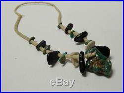 Vintage Antique Navajo Indian Chunky Turquoise Shell Jet Heishi Man's Necklace