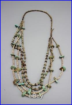 Vintage Antique Southwest Pueblo Navajo Turquoise Heishi Necklace