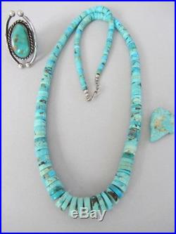 Vintage BIG 26 Turquoise Graduated Heishi Disc Navajo Sterling Bead Necklace