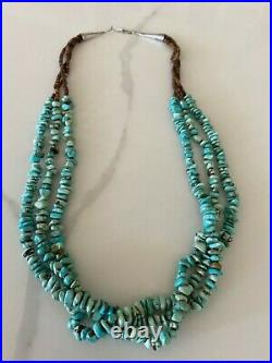 Vintage Carolyn Pollack Relios 3 Strand TURQUOISE Heishi NECKLACE Sterling Cone